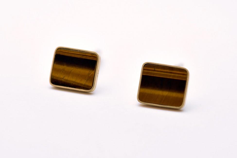 Manschettenknöpfe, 925/-Silber, 750/-Gelbgold, Tigerauge